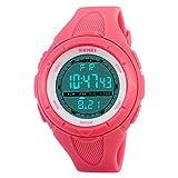 SKMEI Digital Sports Watch Women Waterproof EL Backlight PU Band Small Military Wristwatches Girl Outdoor (Rose)
