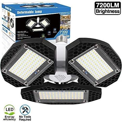 new product 359d2 b090d LED Garage Lights, Deformable LED Garage Ceiling Lights 7200 Lumens, CRI 80  Led Shop Lights for Garage, Garage Lights with 3 Adjustable Panels, ...