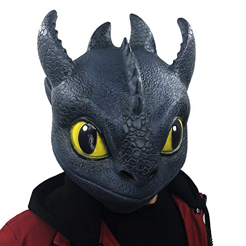 Lucky Lian Toothless Night Fury Costume Cosplay Toys Latex Mask Costume Adult Size (Toothless Mask)]()
