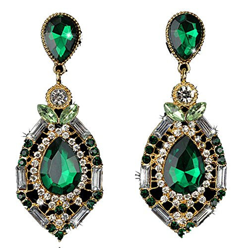 WensLTD Clearance! 1 Pair Women Sparkling Crystal Teardrop Dangle Rhinestone Stud Earrings (Green)