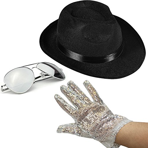 [Set of 3 - Fedora Hat Sequin Glove And Sunglasses by Funny Party Hats] (Throwback Halloween Costumes)