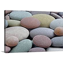 Canvas On Demand Premium Thick-Wrap Canvas Wall Art Print entitled Granite pebbles on beach, full frame