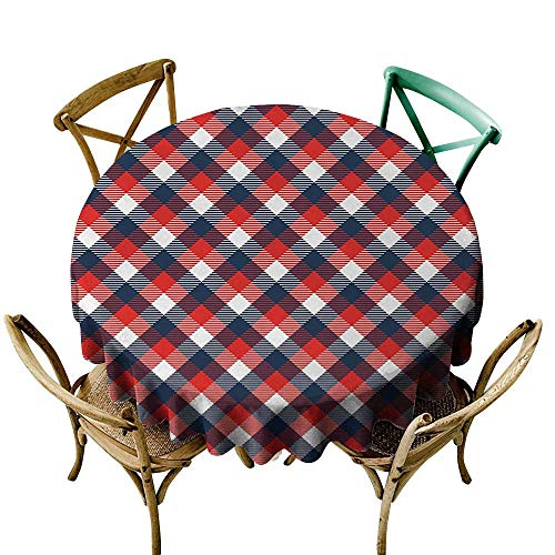 small round tablecloth 54 inch Abstract,Houndstooth Pattern in Colorful Bars Royal British Clan Style Design,Dark Blue Red White Printed Indoor Outdoor Camping Picnic Circle Table Cloth
