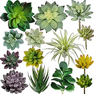 Supla 14 PCS Fake Succulents Plants Unpotted Artificial Succulent Plants Faux Succulents Fake Mini Aloe Echeveria Agave Kalanchoe Succulents Plants Tillandsia Air Plant Stems for Floral Arrangement 95