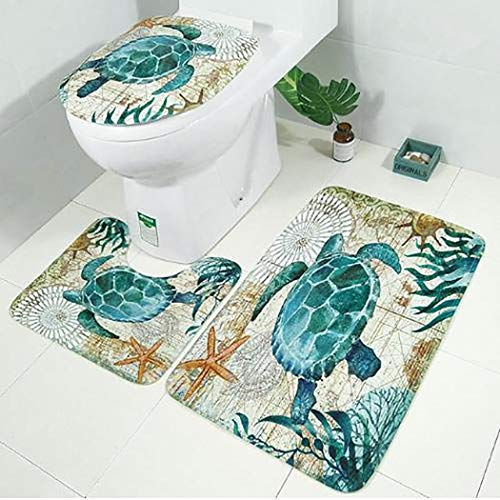 - Fanxis 3 Pieces Sea World Sea Turtle Pattern Toilet Mat and Lid Cover Set