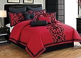 Premium Comforter Sets Queen Full Size Set in Romantic Adult Luxury 10 Piece Elegant Red and Black Design