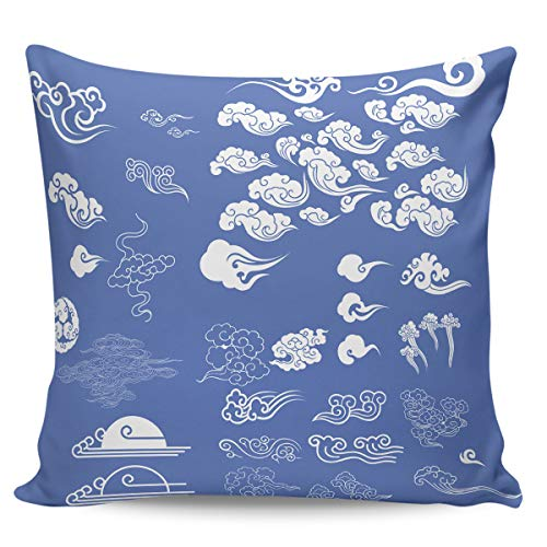 Liberkin Throw Pillow Cases Decorative Soft Square Polyester Pillowcases Pillow Cover Sham Cushion Case for Sofa, 26 x 26 Chinese Style Propitious Clouds -
