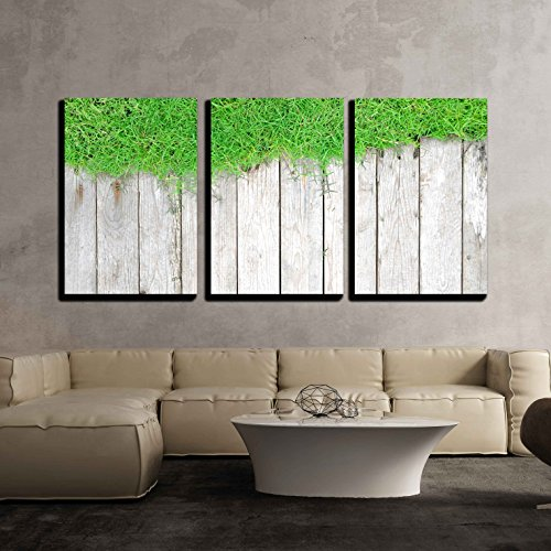 wall26 - 3 Piece Canvas Wall Art - Green Lawn and Wood Background - Modern Home Decor Stretched and Framed Ready to Hang - 16