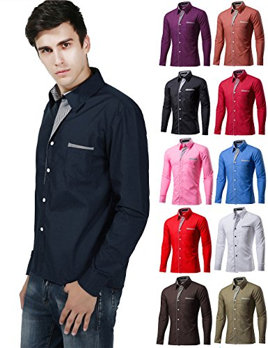 XI PENG Men's Casual Button Down Long Sleeve Striped-Trim Slim Fit Collared Dress Shirts (X-Large, Navy Blue) by XI PENG (Image #6)