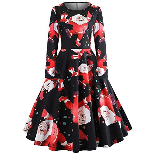 Womens Vintage Christmas Print Long Sleeve Round Neck Evening Party Cocktail A-line Dress -