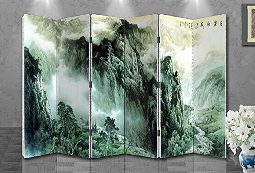 Oriental Style 6-panel Foldable Shoji Screen Room Divider, Chinese Traditional Painting, Mountain and Valley ()