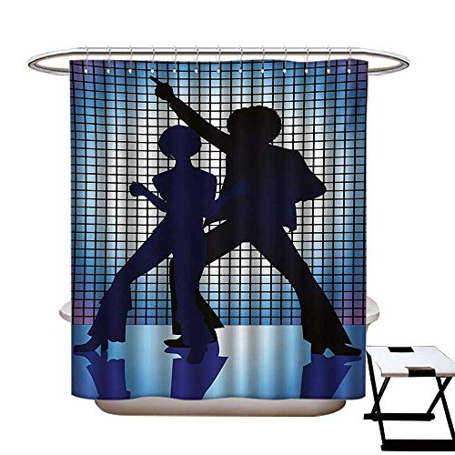 70s Party Shower Curtains Digital Printing Couple Silhouettes