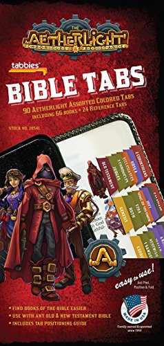 Tabbies Aetherlight Bible Tabs Old & New Testament, 90 Assorted Including 66 Books & 24 Reference Tabs Any Sized Bible (28541)