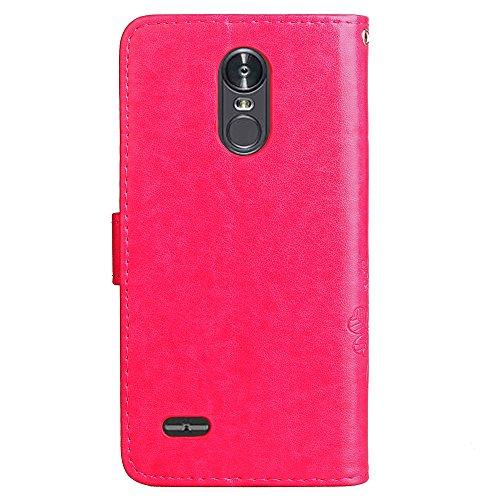 SRY-case Sólido grabado con ranura para tarjeta, hebilla magnética, cubierta incorporada cubierta protectora plana para LG Stylus 3 ( Color : Black ) Red