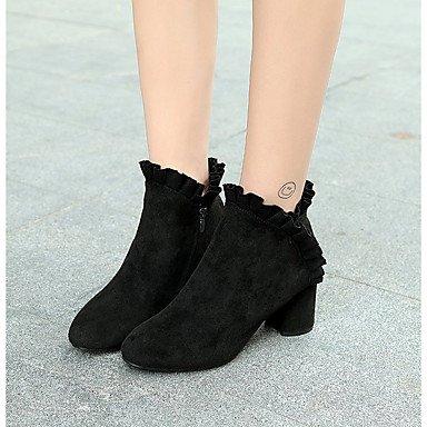 black Zapatos Para Heart Cachemira de Robusto Combate amp;M Casual Negro Verde cuadrada Dedo Otoño Tacón Mujer Botas Botas qwwrE1fT