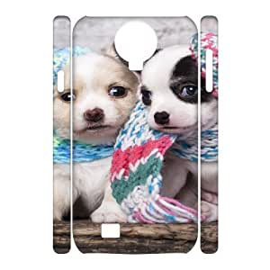 3D Tyquin Cute Scarf Puppy Dog Couple Ilike Com Case for Samsung Galaxy S4, with White