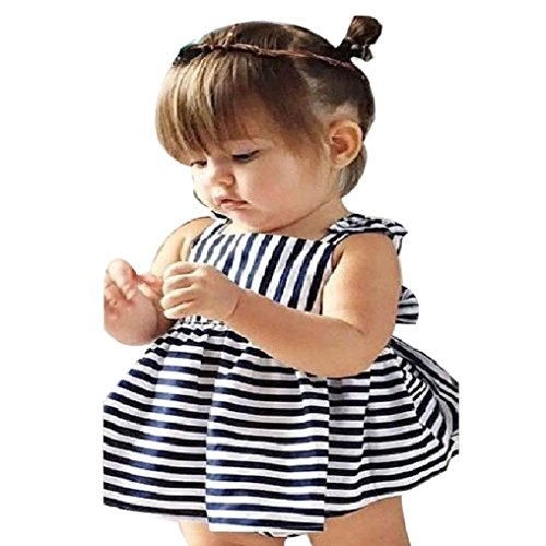 Misaky Baby Girls Summer Sunsuit Outfit Backless Dress (18M, Navy)