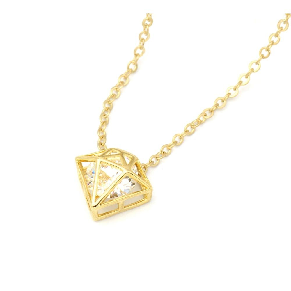 Lauren-Spencer Diamond Brass Necklace Small Petite Minimalist Gold or Rhodium Plated Jewelry BN136 BN136-S