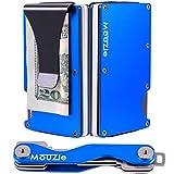 MouZie Deep Sea Blue Money Clip + Cash Strap Band Slim Aluminum RFID Blocking Minimalist Premium Front Pocket Credit Card Holder Wallet + Compact Key Organizer Keychain Set Gift For Men Women