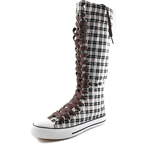 Dailyshoes Femmes Toile Mi-mollet Bottes Hautes Casual Sneaker Punk Plat, Gris Wht Carreaux Bottes, Dentelle Marron Chaud