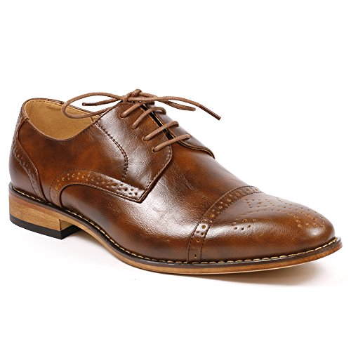 UV SIGNATURE UVS20A Men's Brown Cap Toe Perforated Lace Up Oxford Dress Shoes (7.5)