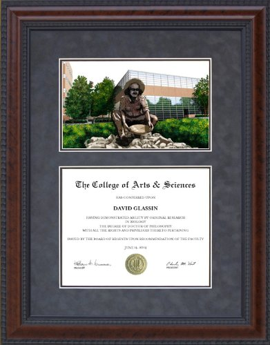 Diploma Frame with Licensed UNC Charlotte (UNCC) Campus Lithograph - 11 x 14 horizontal (landscape) diploma