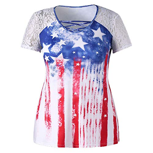 Womens American Flag T Shirt Short Sleeve Scoop Neck 4th July USA Patriotic Shirts Stars Stripes Print Loose Fitting Summer Casual Tee Top Swing Blouse T-Shirt ()