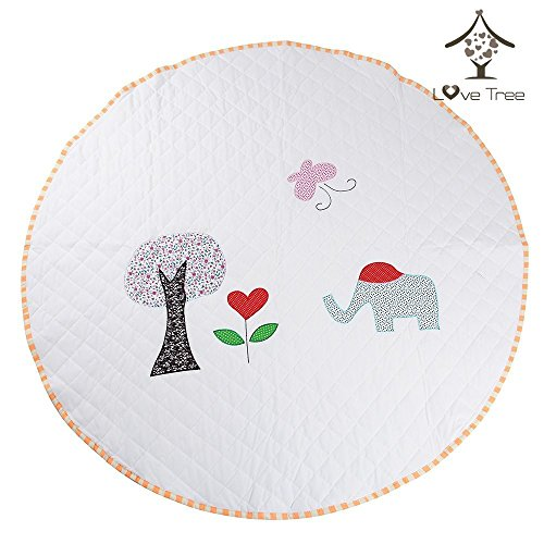 LoveTree Round White Kids Canvas Cushion Anti Skid Door Mat Carpet Rug, Elephant - Used for Children's Canopies & Tents