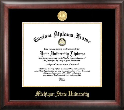 Michigan State Spartans Gold Embossed Diploma Frame by Campus Images