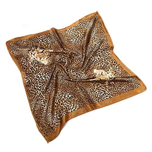 Danyerst Vintage Leopard Animal Print Square Neck Scarf, Women Twill Satin Shawl Handbag Bandana Kerchief Decorative Headwrap]()