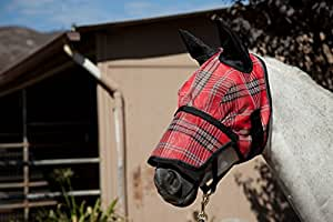 Kensington KPP Fly Mask with Nose Cover and Ears, Deluxe Red Plaid, Small