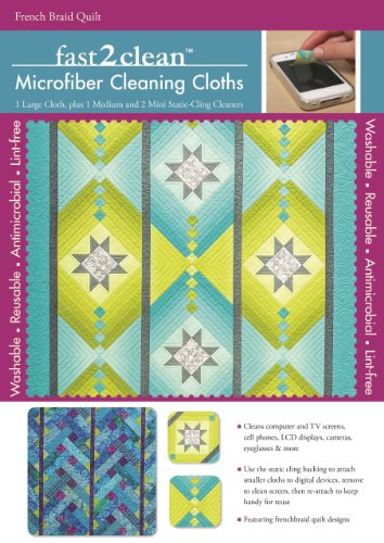 Price comparison product image fast2clean™ French Braid Quilt Microfiber Cleaning Cloths: 1 Large Cloth,  plus 1 Medium and 2 Mini Static-Cling Cleaners