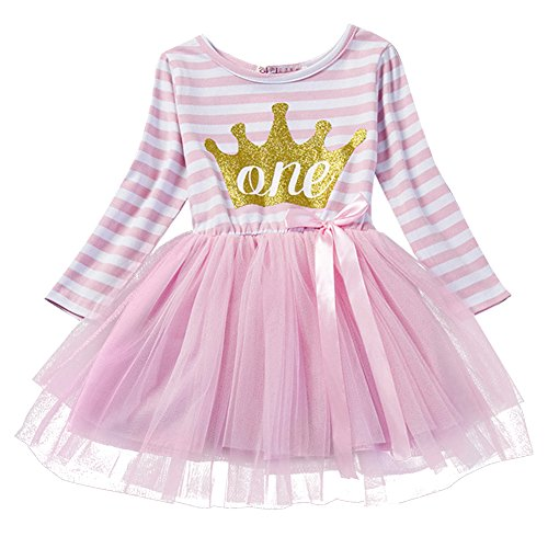 IBTOM CASTLE Baby Girls Shinny Striped 1st/2nd/3rd Birthday Long Sleeve Printed Princess Cake Smash Tutu Tulle Dress Toddler Kids Outfit Pink Crown (One Year) One (1st Birthday Iron)
