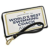 Wallet Clutch Worlds Best Swimming Coach Certificate Award with Removable Wristlet Strap Neonblond