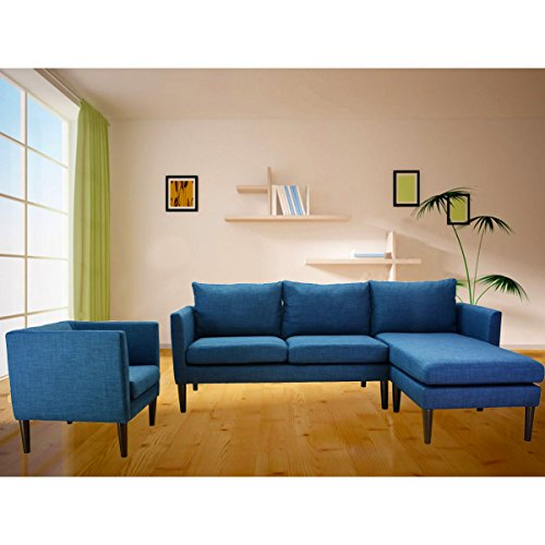 Redde Boo Living Room Sofa Set with Extra Armchair in Removable &Washable Seat and Back Cushion Covers,Reversible Chaise(Dark Blue)