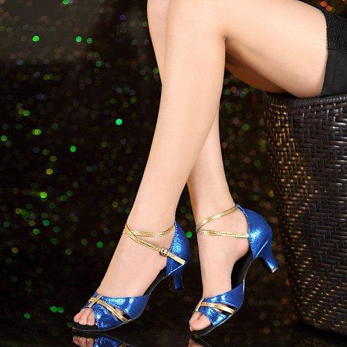 de Principiante T Tacón Charol Zapatos de Azul Cuero de Cubano Q Zapatos T Azul de Baile Mujer 6q1Rv