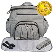 Baby Cedar Diaper Bag for Two Kids. Travel Backpack Nappy Bags. Baby Large Bag Organizer Changing Portable Case and Pad. Gray.
