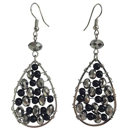Teardrop Earrings Beaded - Teardrop with Beads Wire Wrapped Trendy Dangle Boutique Style Earrings (Black & Grey)