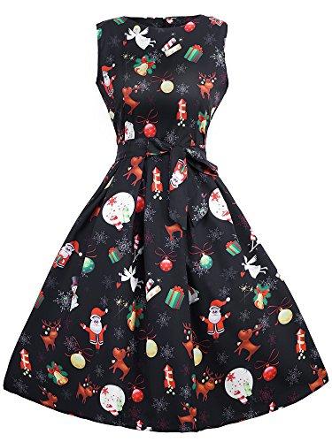 (HENCY BoatNeck Sleeveless Vintage Tea Dress Christmas Santa Claus Print Pullover Party Dress With Belt)