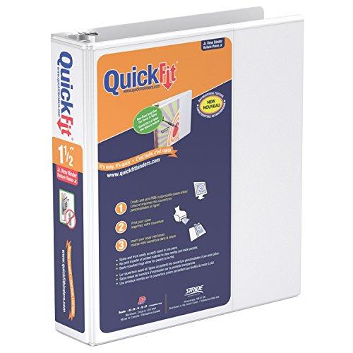 (QuickFit 8.5 x 5.5 Inch Heavy Duty Junior View Binder, 1.5 Inch, Round Ring, White (85120))