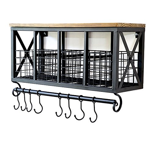 - Industrial Retro Rustic Country Wall Mount Iron Storage Shelf with Mug Hooks Rack Rail Removable Baskets Bathroom Kitchen Organizer Solid Wood Board Top