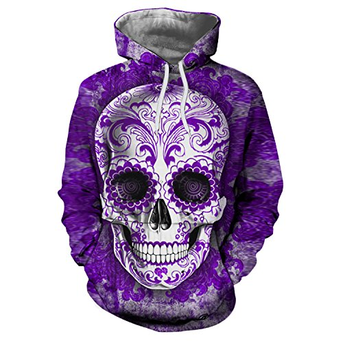 Men Sugar Skull 3D Printed Hoodies Sweatshirts Tracksuits Casual Fashion Male Jackets The Sake XXXL (Pink Skull Hoodie)