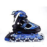 MammyGol Adjustable Inline Skates Kids, Rollerblades Girls Boys Light up Wheels Size 2-4 (Black & Blue)