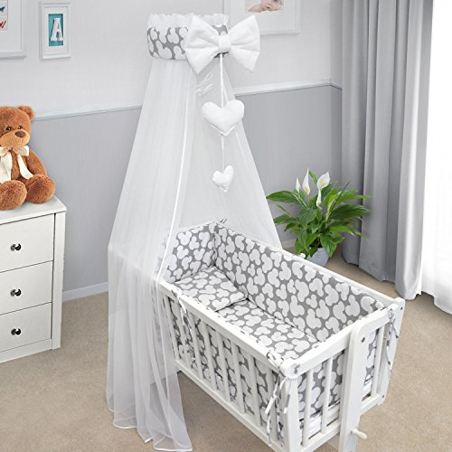 BABY BEDDING SET PILLOWCASE DUVET COVER 2PC TO FIT BABY COT BED White stars on grey background