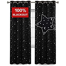 Flamingo P 100% Blackout Curtains for Girls Room, Printed Pair(2 Panels) Room Darkening Thermal Insulated Grommet Top Blackout Black Stars Kids Curtains/Drapers 96 by 52 inch