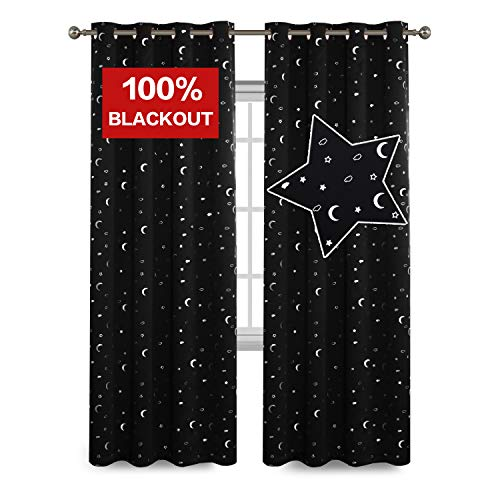 Full Blackout Curtains Soft Microfiber Thermal Insulated Grommet Top Black Moon and Star Window Treatment for Kids Curtains/Drapers 84 by 52 inch, 2 Panels
