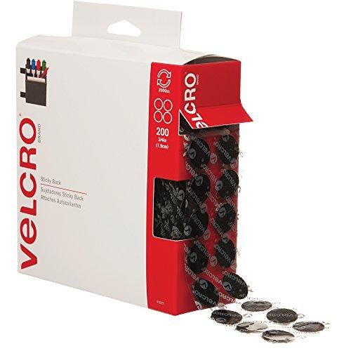 Velcro VEL152 Hook and Loop Dot Tape Combo Pack, 3/4'' Diameter, Black (Case of 200) by VELCRO Brand