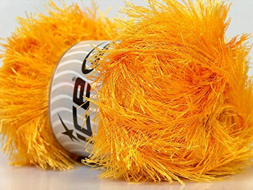 Large 100 gram Skein Canary Yellow Eyelash Yarn Ice Packer's Gold Fun Fur 164 Yards 22710