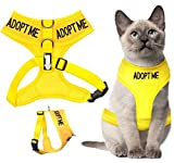 Dexil Color Coded Cat Harness Warning Alert Vest Padded and Water Resistant Yellow ADOPT ME (L-XL)