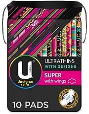 U By Kotex Designer Series Ultrathin Pads Super with Wings 10 Pack
